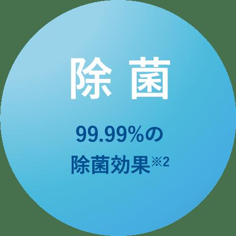 99.99%の除菌効果
